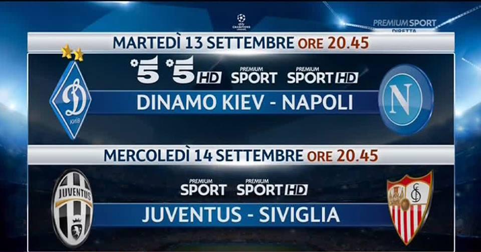 La diretta tv e streaming delle partite delle squadre italiane in Champions League, Juventus e Napoli