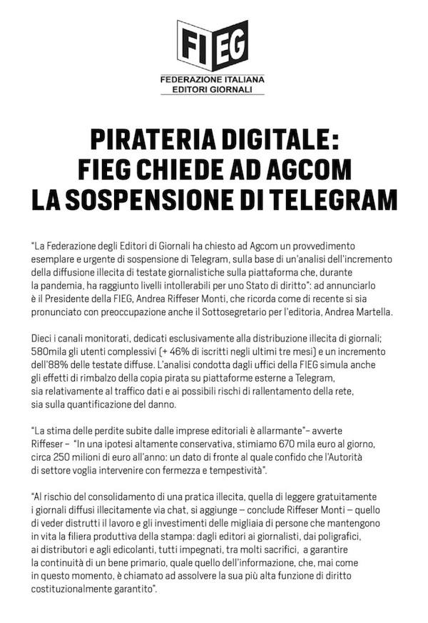 fieg giornali gratis telegram